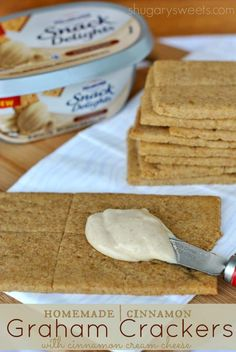 Homemade cinnamon graham crackers topped with PHILADELPHIA Cinnamon Snack Delights. The perfect pair!