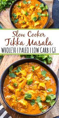 This paleo and Whole30 slow cooker chicken tikka masala recipe is every bit as easy as it is delicious. It's a truly set it and forget it recipe that only requires a few simple ingredients, chicken and a crock pot. The end result is a tasty, healthy and family friendly weeknight dinner or meal for meal prep for the week! It's gluten-free, dairy-free and keto, so it's great for any type of eater in your family! #whole30slowcooker #whole30chickentikkamasala #lowcarbslowcooker #ketoslowcooker…