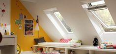 KInderzimmer unterm Dach * Dachausbau mit VELUX * Dachgeschosswohnung einrichten * Fenster in Dachschräge