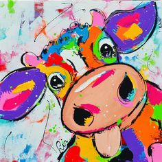 Crazy Cow Art by Numbers Cow Art, Horse Art, Cross Paintings, Animal Paintings, Cow Pictures, Arte Disney, Watercolor Animals, Whimsical Art, Art Fair