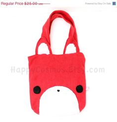 Red Fox Tote Bag  Cute Tote  Kawaii Bag  Halloween by HappyCosmos, $21.25