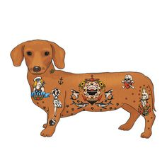 Custom Tattoo Sausage Dog Print