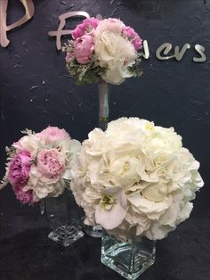 Lovely Bridal bouquet with hydrangea, orchids and peonies.  2 Bridesmaid bouquets with peonies, hydrangea and silver leaves.
