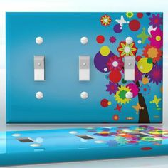 DIY Do It Yourself Home Decor - Easy to apply wall plate wraps   Retro Tree #2  Blue sky with flowers and butterflies  wallplate skin sticker for 3 Gang Toggle LightSwitch   On SALE now only $5.95