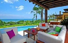 a beautiful ocean view with outdoor living