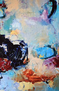 """Abstract Artists International: Contemporary Abstract Painting,Expressionism Art """"Moment to Decide"""" by Abstract Artist Nijole Rasmussen"""