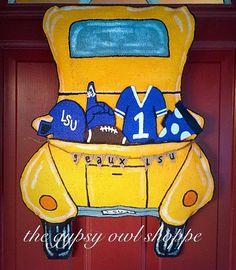 Football Sport truck Burlap Door hanger by gypsyowlshoppe on Etsy
