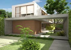 Projetado pelo CR2 Arquitetura na São Paulo,Brazil Essa residência em São Paulo é um projeto para um casal e uma filha.   A grande caixa de concreto do térreo serve c...