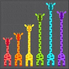 Giraffes in a Row Quilt Pattern, PDF Instant Download modern patchwork baby lap size african animal giraffe orange green blue purple rainbow