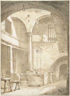 Italiaanse binnenplaats met een waterput, Thomas Wijck, ca. 1644 - ca. 1653