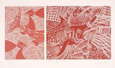 Brian Robinson 'Ocean spirits' c1996, linocut, 38.5 x 49 cm