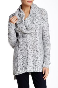 Cowl Neck Marled Cable Knit Sweater