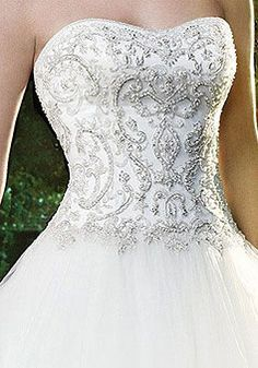 Bejeweled wedding gown bodice.