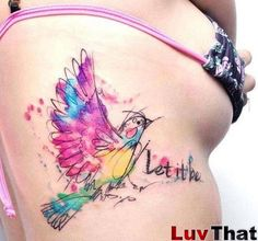 watercolor_colorful_bird_sketch_tattoo_words_let-it-be.jpg (800×749)