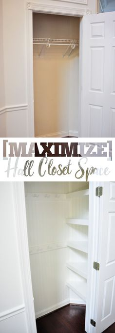 Maximize your hall closet storage by transforming a builder basic inefficient closet space into a space packed with brilliant and space-savvy storage and organizing! How-to on http://Remodelaholic.com