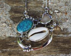 Turquoise, Cowrie Shell & White Seaglass Mermaid Necklace in Sterling Silver //Ocean Jewellery //One-off // Beach Adornment