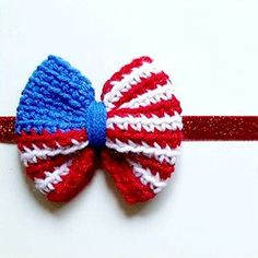 Crochet American Flag Bow 4th of July Independence Day Headband Clip Hair Accessory Newborn Baby Infant Toddler Child Adult Photography Photo Prop Handmade