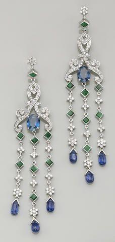 Sapphire Jewelry A pair of sapphire, kyanite, emerald, diamond and eighteen karat white gold earrings each dangle earring centering an oval-shaped sapphire, Sapphire Jewelry, Sapphire Earrings, Diamond Earrings, I Love Jewelry, Fine Jewelry, Jewelry Design, Fancy Jewellery, Geek Jewelry, Jewelry Bracelets
