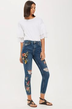 PETITE Embroidered Jamie Jeans - Jeans - Clothing - Topshop