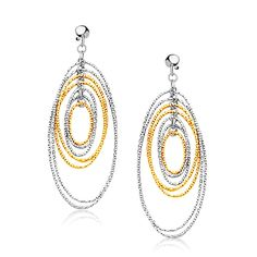 14K Two Tone Gold Layered Textured Oval Dangling Earrings