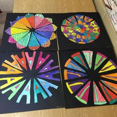 Some finished grade color wheels! Creative color wheels using radial symmetry! Color Wheel Projects, Color Wheel Art, Inspiration Drawing, Mandala, Creation Art, 6th Grade Art, Elements And Principles, Art Curriculum, Middle School Art