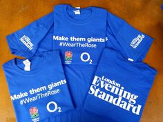 Excellent t-shirts for The London Evening Standard. Four printed positions on each shirt.