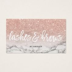 #makeupartist #businesscards - #Lashes brows typography rose gold glitter marble business card