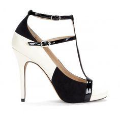 Malia t-strap heel - Crema Black