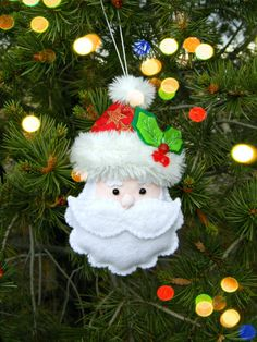 santa claus ornament christmas felt decoration whimsical stuffed santa head soft unbreakable christmas tree dcor ooak