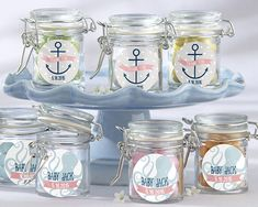 Personalized Glass Favor Jars - Kate's Nautical Baby Shower Collection (Set of 12)