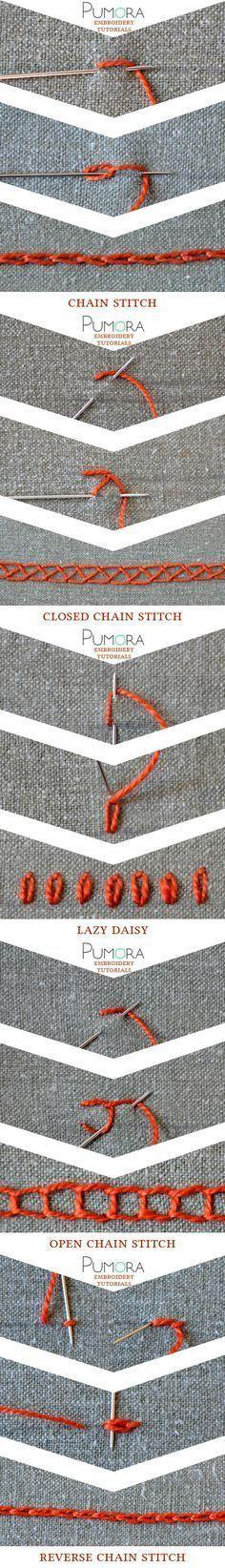 embroidery tutorials: chain stitch with variations broderie, ricamo, sticken, bordado                                                                                                                                                                                 Más