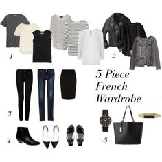 5 Piece French Wardrobe- fits into an overnight bag and combines into more than 20 outfits