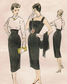 Inspiration: Sheath Dress Wiggle Crop Jacket!  Edith Head sketch. Black sheath dress illustration photo print ad black and white 50s fashion