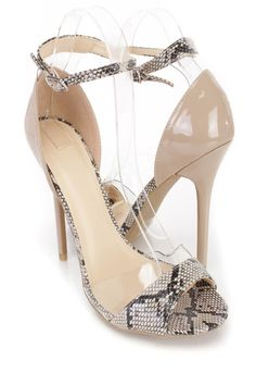 Be ready for any occasion in these one of a kind heels featuring a faux leather with snake print upper, ankle strap, clear trim peep toe, cushioned footbed and smooth lining, approximate 4 1/2 inch heels