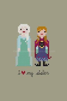 Pixel People - Frozen Elsa Anna PDF patern by weelittlestitches