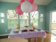 DIY bridal shower decorations, table decor, food display. DIY garland with card stock.