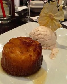 Ending our 3 hour #YelpOC #goldelite dinner with this amazing Vanilla Roasted Pineapple Cake paired with '13 Tolosa Estate Viognier Ice Wine