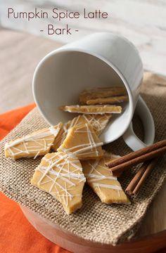 Pumpkin Spice Latte Bark -- Just white chocolate chips, pumpkin puree, pumpkin spice and instant espresso powder!