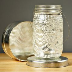 Hand Painted Mason Jar Moroccan Lantern, Henna Inspired Design in White Pearl - on Crystal Clear Glass