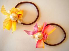 pearl & Ribbon  ヘアゴム (pink)