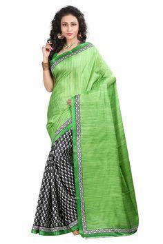 Green Bhagalpuri Silk Printed Saree