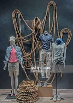 Window display J CREW - Summer retail store display. Visual merchandising. VM. Nautical theme. men's / women's clothing.