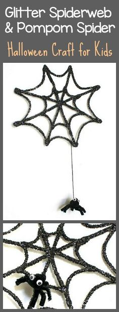 Halloween Craft for Kids: Make a 3-D Glitter Spiderweb and Pompom Spider Hanging…