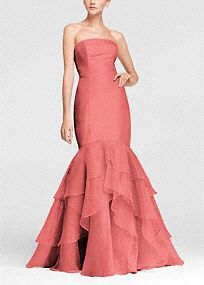 Dramatic and on trend, your bridesmaids will love the way theylook and feelin this organza dress!  Strapless organza bodice creates a sensational silhouette.  Fit and Flare shape creates volume and accentuates your curves.  Organza tiered skirt adds a touchof flare for the finishing touch!  Fully lined. Back zip. Imported polyester. Dry clean.