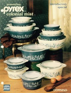 1983 ad for Pyrex Colonial Mist pattern
