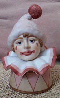 Vintage Enesco Music Box Clown 1985 Ceramic Head Plays Memory from Cat  Pink