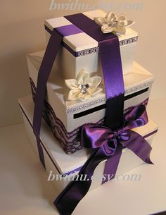 White And Lavender Wedding Card Box Gift Card Box Money Card Box - Customize your color. $119.00, via Etsy.