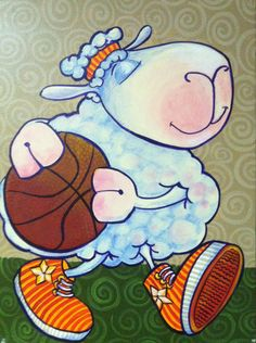 "Basketball Sheep 12"" x 18"" Acrylic Painting on Canvas - flying shoes art studio"
