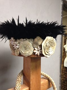 Feather and Lauhala headpiece