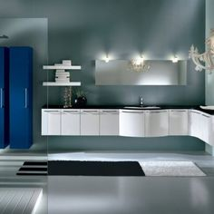 BM7. Curved High Gloss White Floating Suite